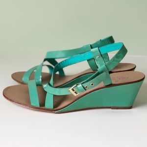 Kate Spade Turquoise Green leather wedge sandals